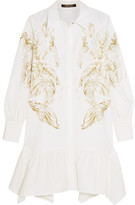 Roberto Cavalli Printed Cotton-blend Mini Dress - White
