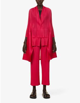 Pleats Please Issey Miyake Moto asymmetric-hem pleated woven jacket