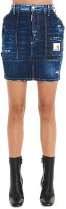 DSQUARED2 Logo Patch Distressed Mini Skirt