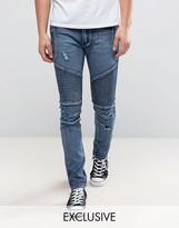 Liquor & Poker Skinny Distressed Biker Jeans in Brush Wash Blue