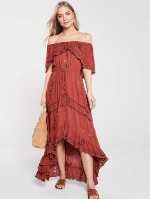 Very BroderieEmbroidery BardotMaxi Dress - Rust