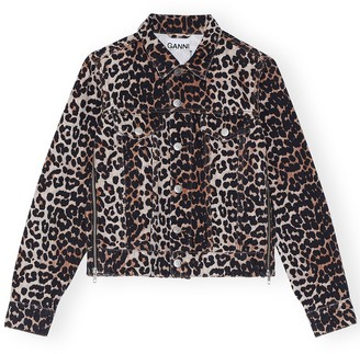 Ganni Print Denim Cropped Jacket in Leopard