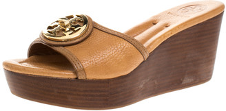 Tory Burch Tan Leather Selma Platform Wedge Sandals Size 37