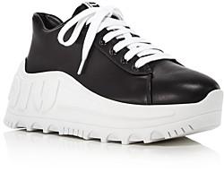 Miu Miu Women's Wedge Heel Logo Sneakers