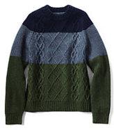 Classic Men's Colorblock Lambswool Aran Crewneck Sweater-Evergreen