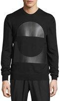 McQ by Alexander McQueen Crewneck Sweatshirt w/Faux-Leather Patches, Darkest Black