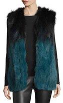 La Fiorentina Francine Ombre Fur Vest, Black/Blue