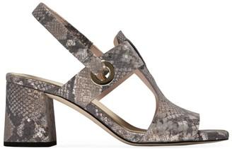 Cole Haan Adele Snakeskin-Embossed Leather Slingback Sandals