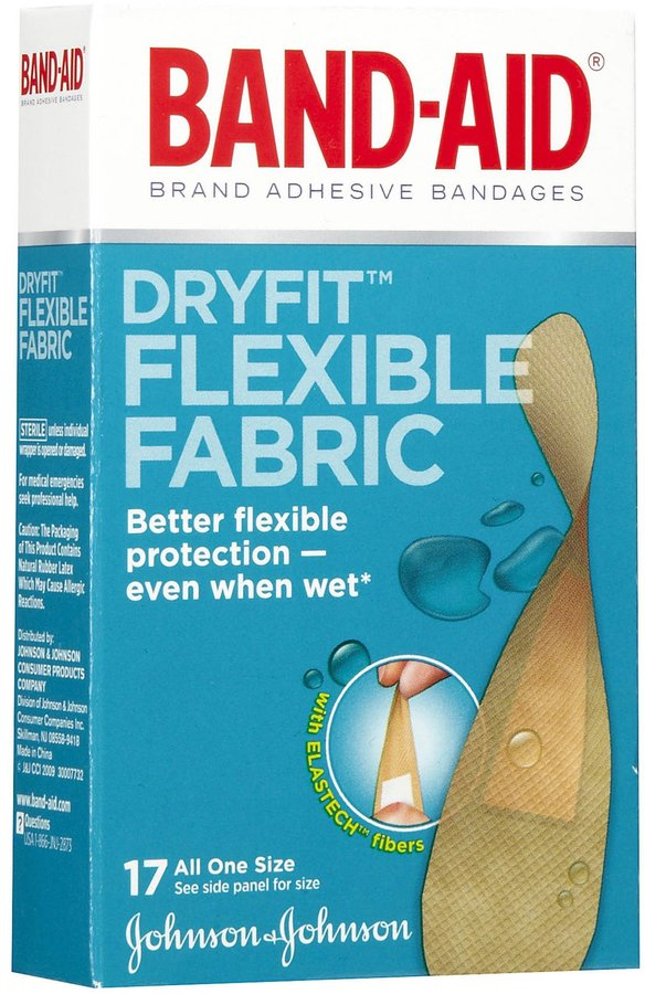 Safety First Band-Aid Dryfit Flexible Fabric Bandages-17ct