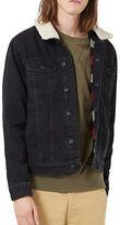 Topman Washed Faux Shearling Collar Denim Jacket