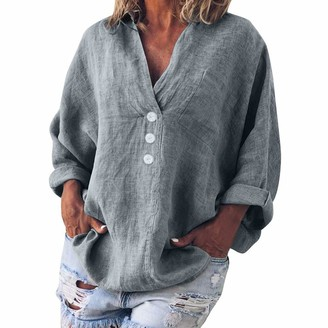TWIFER Women Fashion Plus Size Solid Casual Linen V-Neck Button Blouse T-Shirt Tunic Tee Top Casual Comfy Soft Solid Floral Slouchy Pullover (X-Gray UK-24/CN-L)