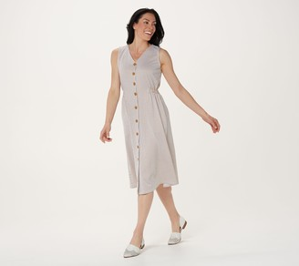Denim & Co. Regular Seersucker V-Neck Midi Dress