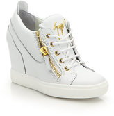 Giuseppe Zanotti Leather High-Top Zip Wedge Sneakers