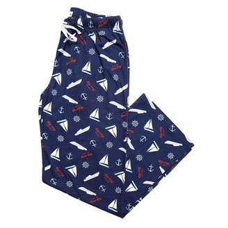 Pavilion Gift Company Livin' The Boat Life Anchors Boats Helms - Small Unisex Lake Or Beach Pajama Pants Blue