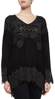 Johnny Was Lacy V-Neck Georgette Tunic, Plus Size