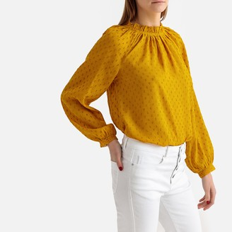 La Redoute Collections Embroidered Ruffled High Neck Blouse