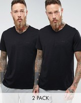 Boss Black By Hugo Boss V-neck T-shirt 2 Pack In Relaxed Fit Black