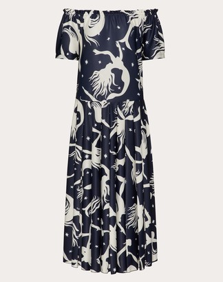 Valentino Printed Pleated Jersey Dress Women Navy Polyester 100% L