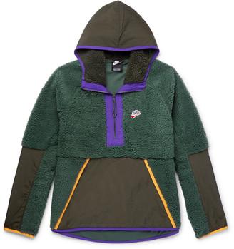 Nike Sportswear Contrast-tipped Nylon-trimmed Fleece Hooded Half-zip Jacket - Green