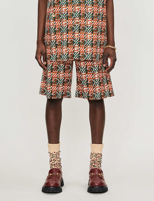 Gucci Hermon geometric-pattern relaxed-fit cotton shorts