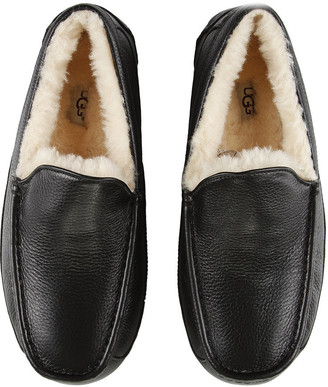 UGG Men's Ascot Leather Slippers - Black - UK 12