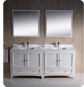 "Oxford 72"" Double Bathroom Vanity Set with Mirrors Fresca Base Finish: Antique White"