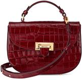Aspinal of London Women's Letterbox Croc Saddle Bag Bordeaux