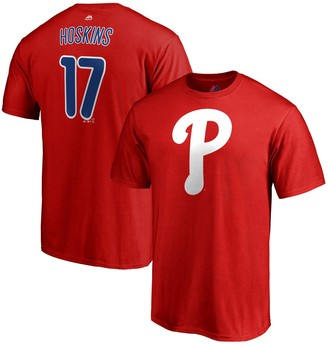 Majestic Men's Rhys Hoskins Red Philadelphia Phillies Double Play Cap Logo Name & Number T-Shirt