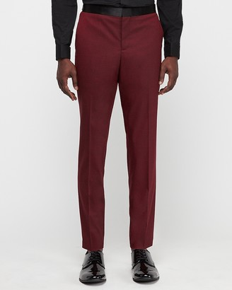 Express Slim Garnet Red Oxford Wool-Blend Stretch Tuxedo Pant