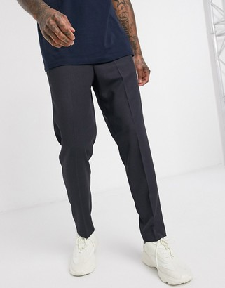 Selected slim tapered fit elastic waist twill smart trousers in navy