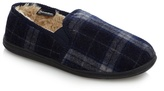 Maine New England Navy 'thinsulate' Check Pattern Slippers