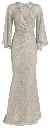 Talbot Runhof Coley Ruched Cape Gown