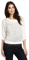 Kenneth Cole New York Women's Cropped Open Stitch Sweater