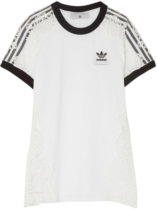 adidas by Stella McCartney Lace-paneled Cotton-jersey T-shirt