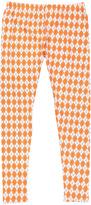 No Name Orange & White Argyle Leggings - Women