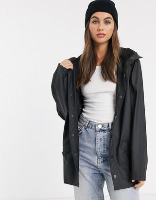 Rains short waterproof jacket in black