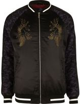 River Island MensBlack embroidered satin bomber jacket