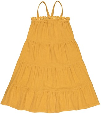 La Redoute Collections Cotton Muslin Dress with Shoestring Straps, 3-12 Years
