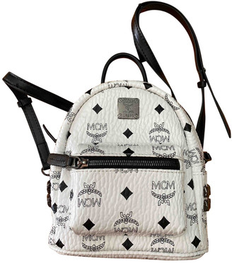 MCM Stark White Leather Backpacks