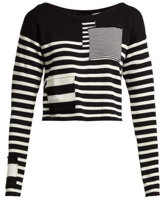 Altuzarra Cousteau Patch-detailed Striped Ribbed-knit Top - Womens - Black White