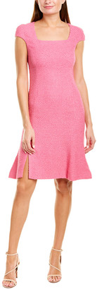 Oscar de la Renta Cap Sleeve Silk-Lined Sheath Dress
