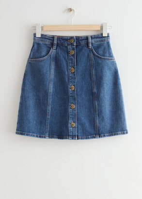 And other stories Floral Button Denim Mini Skirt