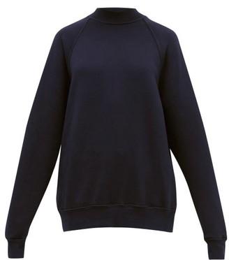 LES TIEN High-neck Brushed-back Cotton Sweatshirt - Navy