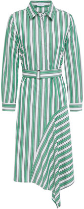 Claudie Pierlot Asymmetric Belted Striped Cotton-poplin Shirt Dress