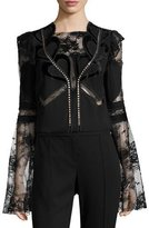 Elie Saab Lace & Crepe Bell-Sleeve Top with Velvet Hearts, Black