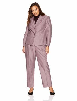 Le Suit LeSuit Women's Plus Size 2 Button Notch Collar Crossdye Pant Suit