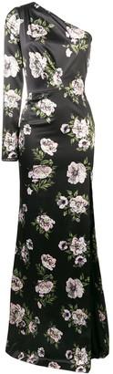 Philipp Plein Floral One Shoulder Evening Dress