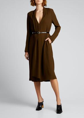 Petar Petrov Draped Wool-Blend Midi Dress w/ Leather Belt