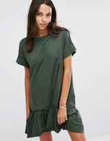 Boohoo Ruffle Hem T-shirt Dress