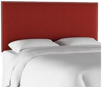One Kings Lane Loren Headboard - Red Linen - upholstery, red; nailheads, brass